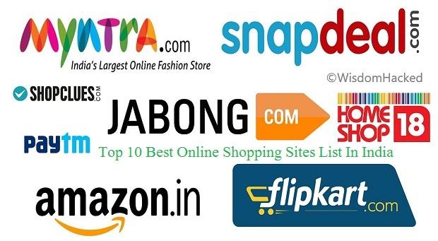 ऑनलाइन शॉपिंग के 10 सबसे बड़ी साइट -List of Top 10 Online Best Shopping Sites in India in Hindi